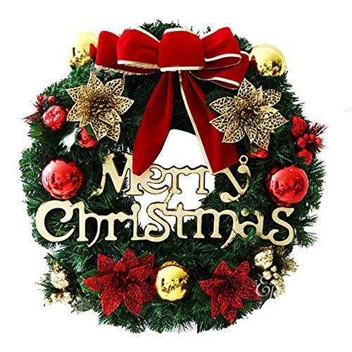 Lyugym クリスマスリース クリスマス飾り 玄関リース ドア 窓 オーナメント インテリアの飾り レッド クリスマスベル 華やか 可愛い クリスマス デコレーション おしゃれ クリスマス飾り付け 北欧風 高級風 壁飾り (花)