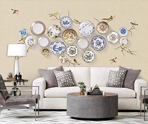 ZJfong Photo 3D Chinees Porselein Plaat Bloemen en Vogels woonkamer Slaapkamer Wall Home Decor 350 x 245 cm.