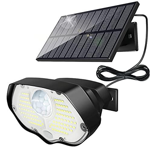 Luce Solare Led Esterno, Kolpop 106 LED Faro LED Esterno con Pannello Solare 3 Modalità Lampade Solari con Sensore di Movimento IP65 Impermeabile, Faretto LED da Esterno Solare per Giardino Cavo di 3M