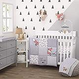 Little Love By Nojo Lil Fox, Grey, Orange, White 3Piece Nursery Crib Bedding Set With Comforter, Fitted Crib Sheet, Dust Ruffle, Orange, Grey, White, Charcoal