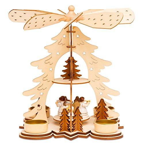 SIKORA P27 Teelicht Holz Weihnachtspyramide mit Engel H:26cm