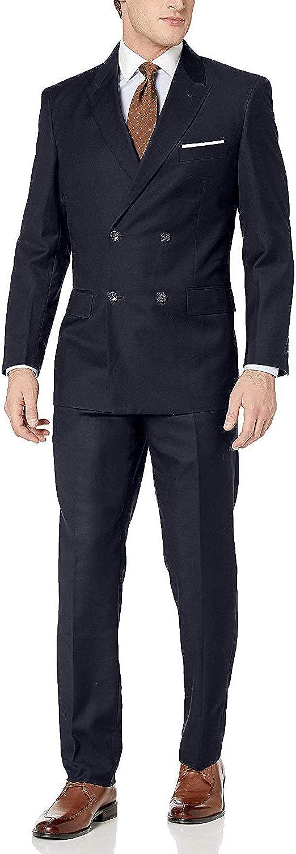 Adam Baker Men's 2-Piece Wool Blend Double Breasted Solid Dress Suit
