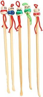 HEALIFTY Set van 5 bamboe oor schone lepel oor verzorging diverse kleuren pop hoofd oorbel Toiletry Kits