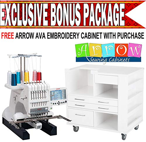 Janome MB-7 Embroidery Machine with Arrow Ava Cabinet