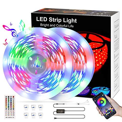 LED Strip 10M,kdorrku Bluetooth RGB LED Streifen Bänder Lichtleiste mit Fernbedienung,Sync Mit Musik Flexibel Selbstklebende Dimmable LED Lichterketten,5050 SMD LED Stripe Band Leiste für Dekoration