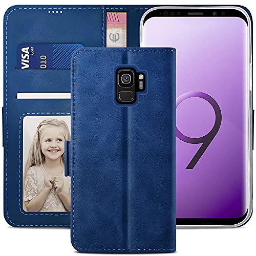 YATWIN Cover Samsung Galaxy S9, Flip Custodia Portafoglio in Pelle Premium Slot, Interno TPU Antiurto, Supporto Stand, Stile Libro e Chiusura Magnetica Folio Caso per Samsung Galaxy S9 - Blu
