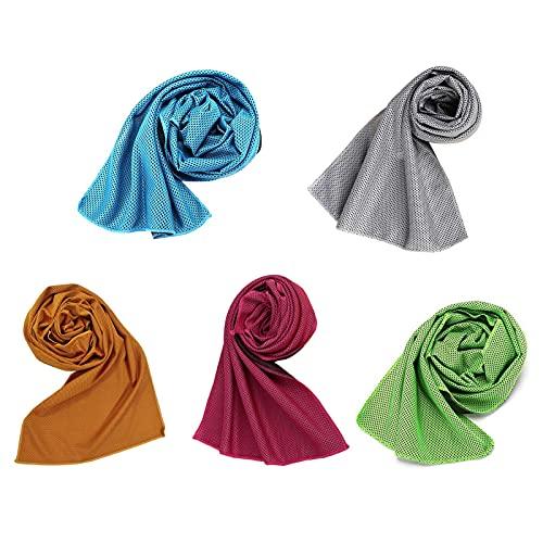 5 paquetes de toallas de enfriamiento, 30x100 cm de enfriamiento por evaporación instantánea, enfriamiento a presión alivio de enfriamiento instantáneo para el golf, fitness, acampar, senderismo, yoga