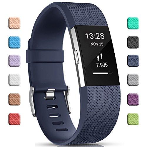 Gogoings Kompatibel mit Fitbit Charge 2 Armband Original Blau, Soft Silikon Verstellbares Ersetzerband Damen Herren Uhrenarmband Armbänder für Fitbit Charge2 Fitness Zubehör Klein