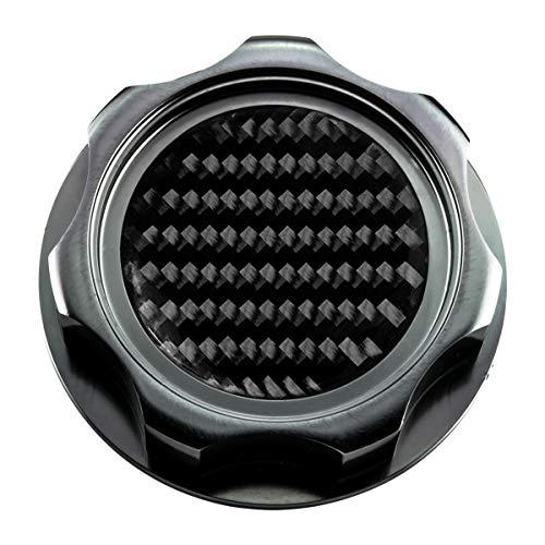 VMS RACING GUNMETAL OIL CAP with Real Black CARBON FIBER Emblem in CNC Machined Billet Aluminum Compatible with Honda Acura Integra