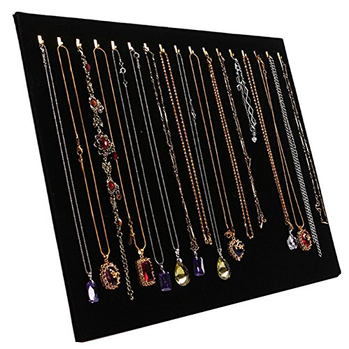 TinaWood 14.7'x12' 17 Hook Necklace Jewelry Tray/Display Organizer/Pad/Showcase/Display case (Black)