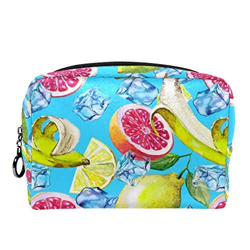 Neceser de Maquillaje Estuche Escolar para Cosméticos Bolsa de Aseo Grande Frutas Limón Pomelo Naranja Acuarela