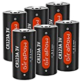 CR123A 123 3V Lithium Battery, Girapow 1600mAh CR123 123A Battery for Camera, Flashlight, Smoke Detector, Wireless Security, Photo Camera, 6-Count [Single Use]