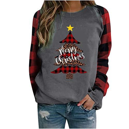 Geilisungren Langarmshirt Damen Weihnachten Casual Rundhalsausschnitt Bluse Schneemann Rentier Druck Kariertes Patchwork Shirts Weihnachtspulli Pullover Sweatshirt Oberteil Bluse Tops