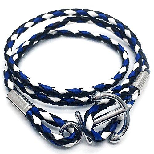 COOLSTEELANDBEYOND DREI Runden Nautisch Matrose Blau Weiß Wickeln Schweißband Anker Armband Herren Jungen Armreif mit Lederriemen