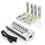EBL AAA Rechargeable Batteries Precharged 8 Pieces 1100mAh AAA Batteries with Battery Charger for AA AAA Batteries