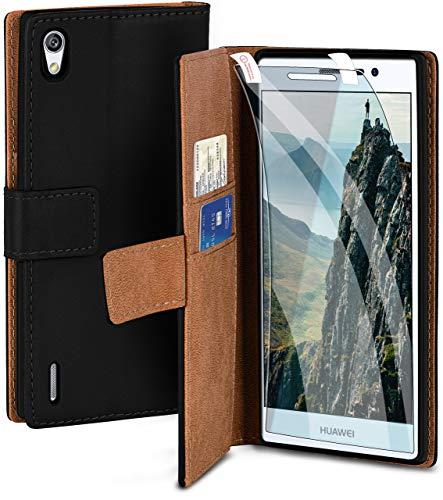moex Handyhülle für Huawei Ascend P7 - Hülle mit Kartenfach, Geldfach & Ständer, Klapphülle, PU Leder Book Hülle & Schutzfolie - Schwarz