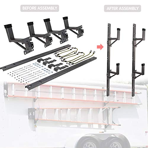 Hildirix Adjustable Trailer Ladder Rack (Carry 2 ladders) Fit for Enclosed Trailer Exterior Side Wall