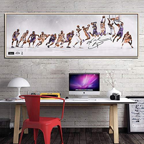 ganlanshu Baloncesto clásico Pintura al óleo Estrella Cartel decoración Pintura Lienzo Pared Sala Dormitorio decoración,Pintura sin Marco,50X150cm