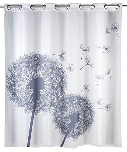 Wenko Anti-Schimmel Duschvorhang Astera Flex, Textil-Vorhang mit Antischimmel Effekt, große integrierte Ringe zur Befestigung an der Duschstange, waschbar,wasserabweisend, 180 x 200 cm