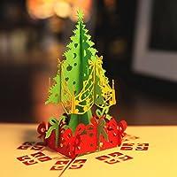 Paper Spiritz クリスマスツリーのグリーティングカード、メリークリスマスポップアップカード