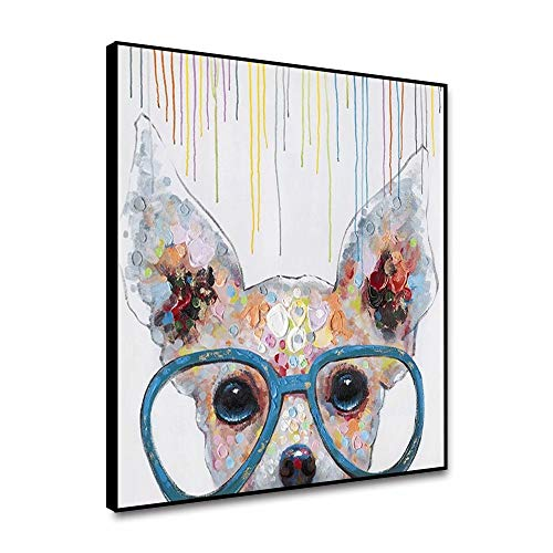 Canessioa Modern Canvas Wall Art Colorful Cute Dog with Glasses Cute Animal Abstract Painting Still Life Wall Decoration Stretched and Framed Ready to Hang for Living Room Kitcken 12''x12''