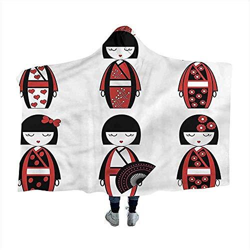Biubiu-Shop Meisjes Wearable Hooded Blanket Hood Poncho Geisha poppen Folkloric Throw Blanket jas met capuchon voor volwassenen en kinderen 60 x 50 inch