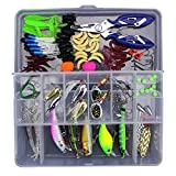 Gobesty Fishing Lure Set, 103pcs Mixed Universal Artificial Soft Baits kit Fishing Lure Fishing Gifts for Men Including Spinning Lures, Plastic Worms, Frogs, Single Hooks, Swivels and Tackle Box