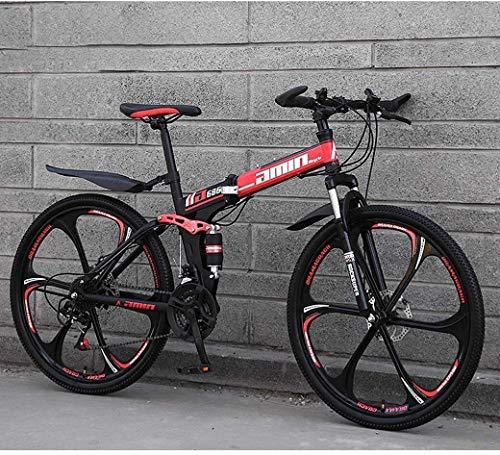MAMINGBO Mountain Bike Bicicletta Pieghevole, Sospensione 26inch 27-velocità Doppio Freno a Disco Antiscivolo Totale, Leggero Telaio in Alluminio, Forcella della Sospensione, Rosso