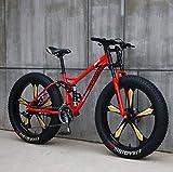 LJLYL 26' Bicicleta de Montaña para Hombres y Mujeres, Jóvenes y Adultos Montura de Acero con Carbono Frenos de Disco Mecánicos Ruedas de Aleación de Aluminio, color rojo, tamaño 7 speed
