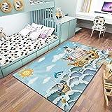 Inicio TapisPolyester hipoalergénico habitación infantil para los cojines de pelo corto antideslizante de Sun Barco pirata azul adecuada para la decoración de la alfombra arrastramiento,80CM×160CM