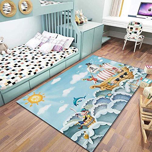 Inicio TapisPolyester hipoalergénico habitación infantil para los cojines de pelo corto antideslizante de Sun Barco pirata azul adecuada para la decoración de la alfombra arrastramiento,80CM×1