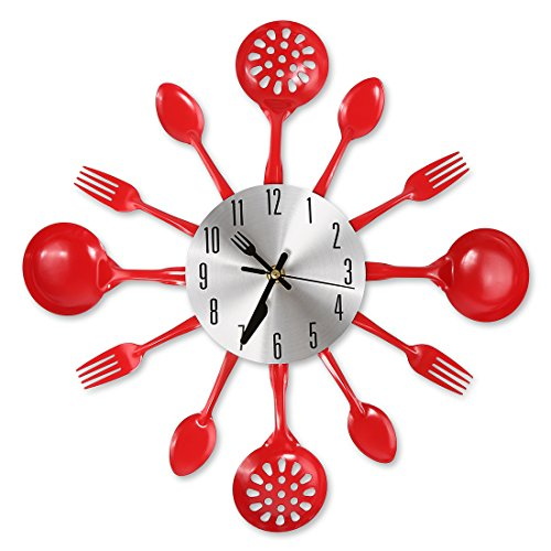 """CIGERA 14"""" Kitchen Cutlery Wall Clock with Forks and Spoons for Home Decor,Red"""