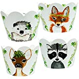 Woodland Animal Cupcake Wrappers - 36 | Forest Creatures Baby Shower, Camping Theme Decorations, Wild One 1st Birthday Party Supplies, Fox, Hedgehog, Doe, Deer, Raccoon, Spring Greenery Holders