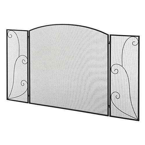 HOMCOM Biombo Chimenea de 3 Paneles Pantalla de Chimenea Plegable con Bisagras Estructura de Metal Resistente Malla Decorativa 132,5x76,5 cm Negro