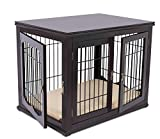 BIRDROCK HOME Decorative Dog Kennel with Pet Bed for Small Dogs - Espresso - Double Door - Wooden Wire Dog House - Indoor Pet Dog Crate Side Table - Bed Nightstand