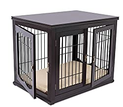 Internet's Best Decorative Dog Kennel with Pet Bed - Small Dog - Double Door - Wooden Wire Dog House - Large Indoor Pet Crate Side Table