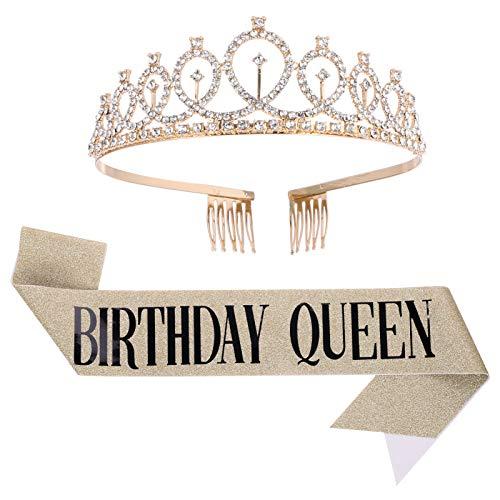 QINREN Birthday Geburtstag Geburtstagskrone Schärpe Birthday Krone Gold Geburtstag Tiara Crown Frauen Mädchen Geburtstag Tiara für Alles Gute zum Geburtstag Partyzubehör, Gefälligkeiten, Dekorationen