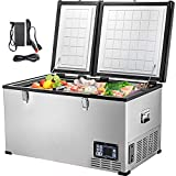 VEVOR Car Freezer,84 Quart Portable Chest Freezer,80L Deep Freezer Double Door,Compressor Deep Freezer with Removable Basket,Electric Powered Cooler from 50℉ to -4℉,for Car Home Camping Truck Party