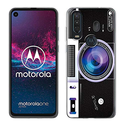 Yoedge Cover Motorola One Action, Sottile Antiurto Custodia Trasparente con Disegni Ultra Slim Protective Case 360 Bumper in TPU Silicone per Motorola One Action (Camera Purple)
