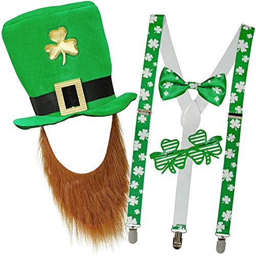 com-four® Leprechaun, Kobold Kostüme zum St. Patricks Day - Outfits und Accessoires für das grüne, irische Fest - Für Fasching, Fastnacht, Karneval, Parade, Motto-Party, Irish Pub (04-teilig - Set02)