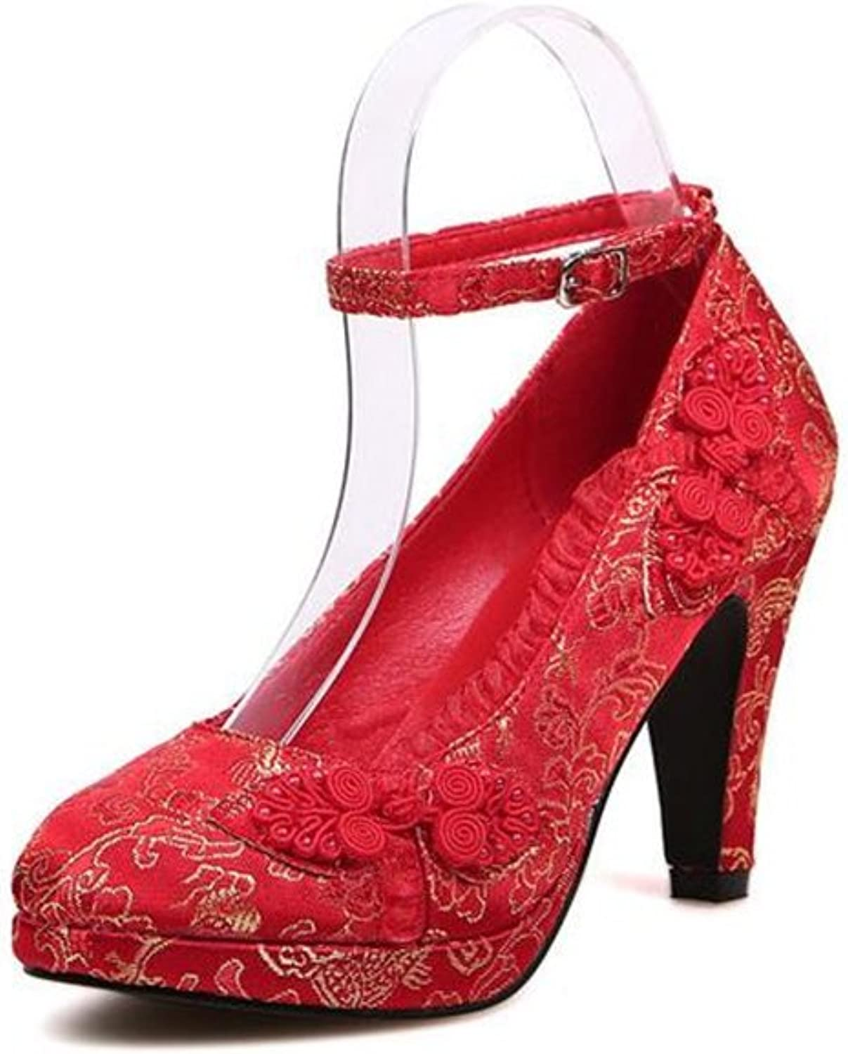 Coloing Wedding shoes Sexy Women shoes with Lace Flowers Bridal shoes High Heel Evening shoes(0 0)