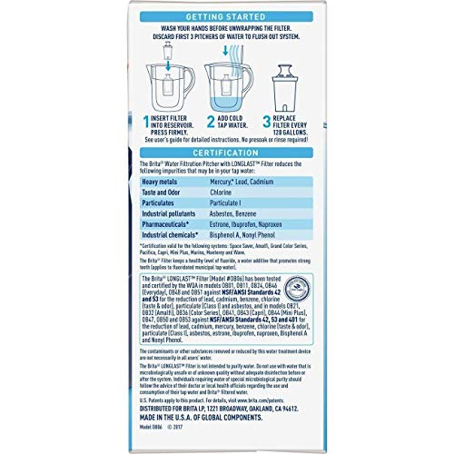 Brita Longlast Water Filter Replacement Filter for Pitcher and Dispensers, Reduces Lead,BPA Free 3 Count