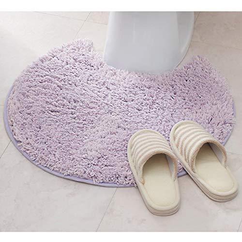 ベルメゾン トイレマット 60cm 60cm すべりにくい 無地 洗える パープル 標準 円形 マットのみ