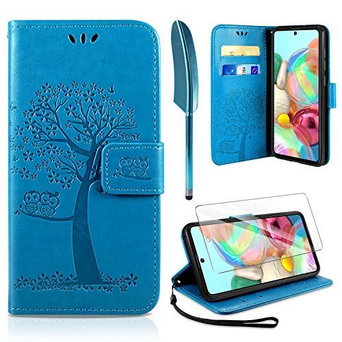 AROYI Kompatibel mit Samsung Galaxy A71 Hülle mit Schutzfolie, PU Leder Flip Wallet Schutzhülle für Samsung Galaxy A71 Tasche, Blau
