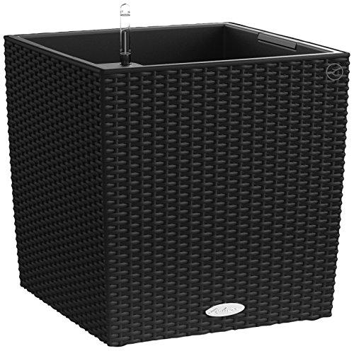 Vaso in Resina per Piante Lechuza Cube Cottage 40 Set Completo - NERO