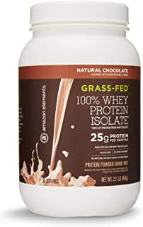 Amazon Elements Grass-Fed 100% Whey Protein Isolate Powder, Natural Chocolate, 2.11 lbs (30 Servings)