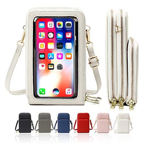 HAIWILL Handy Umhängetasche Damen Touchscreen Tasche Handy Wasserdicht Handtasche Schultertasche Leder Frauen Brieftasche Retro Crossbody kleine Handy Tasche für iPhone 11 Pro/11/Xs Max/XR/Xs (Beige)