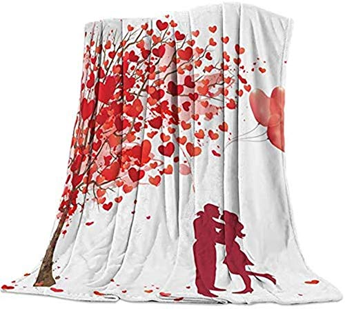 Manta de forro polar de franela cálida reversible suave manta para fotos de sofá cama, viajes, día de San Valentín, una pareja abrazando y besando bajo el corazón árbol de amor, globo de 127 x 203 cm