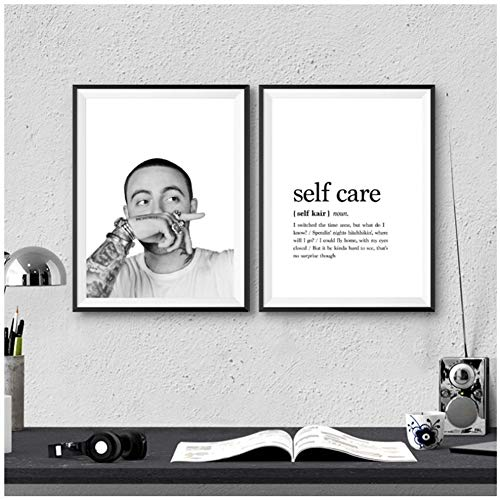 Mac Miller Rapper Photography Canvas Art Prints Self Care Hip Hop Letras Definición Pintura Wall Pictures Music Studio Decor / 50X70cm2pcs-Sin marco