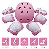 Kids Helmet Knee Pads, 7-in -1 Kit Protective Gear Adjustable for 3-8 Years Boys and Girls, Suitable for Toddler Helmet Bike Skateboard Helmet Youth Hoverboard Cycling Scooter Rollerblading (Pink)